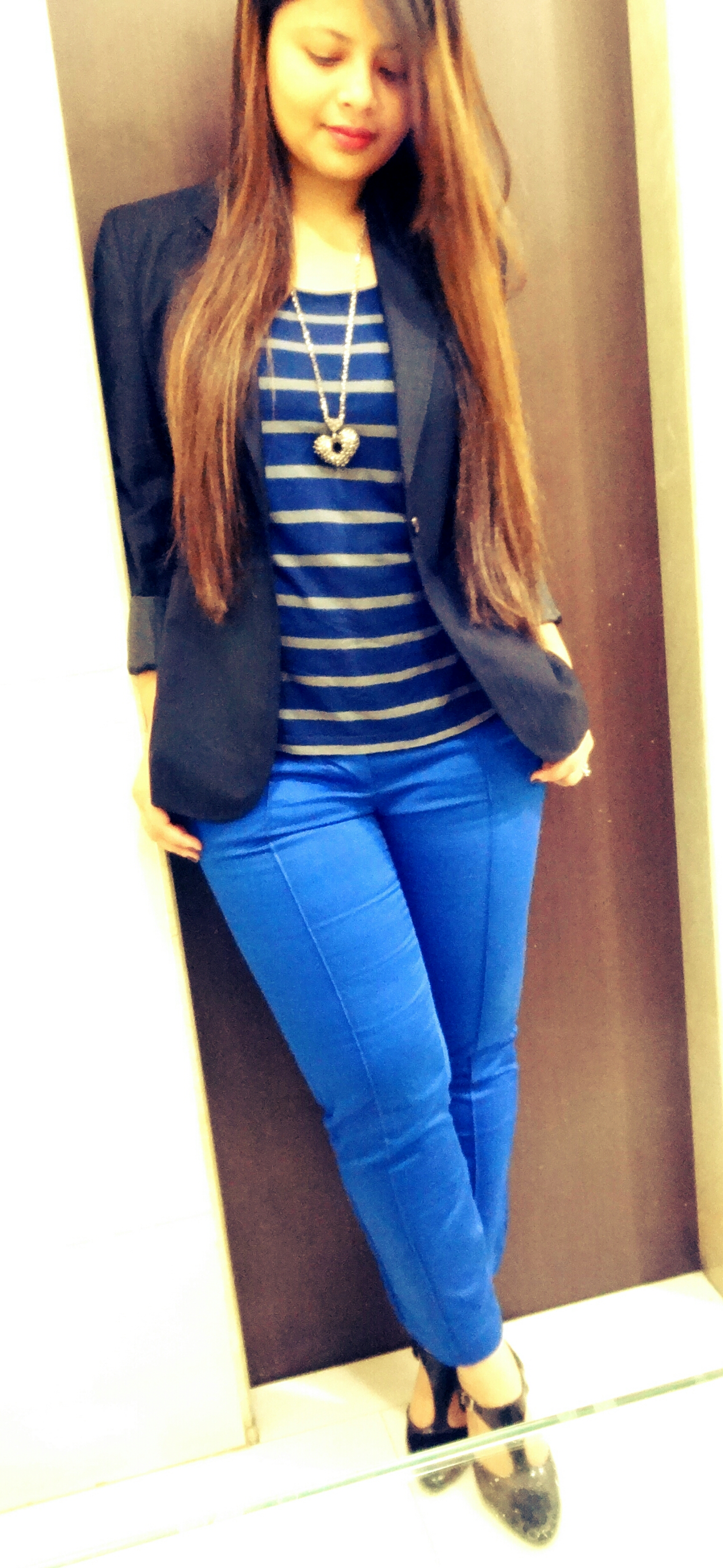 it's all about blue  blue stripes  blue pants  navy